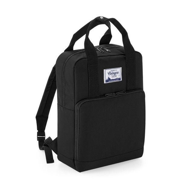 Backpack, black, label