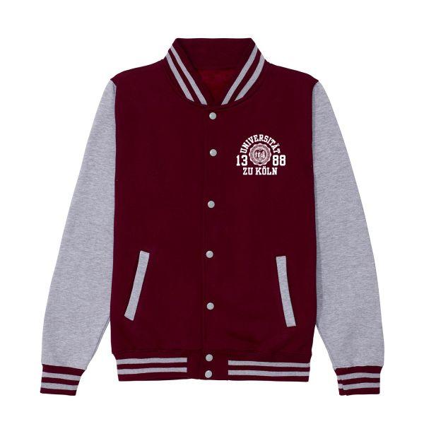 Unisex College Jacket, burgundy / heather grey, marshall