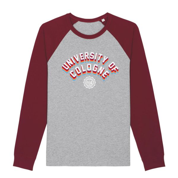 Unisex Baseball Shirt, grey-burgundy, statement
