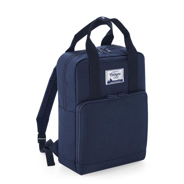 Backpack, blue, label