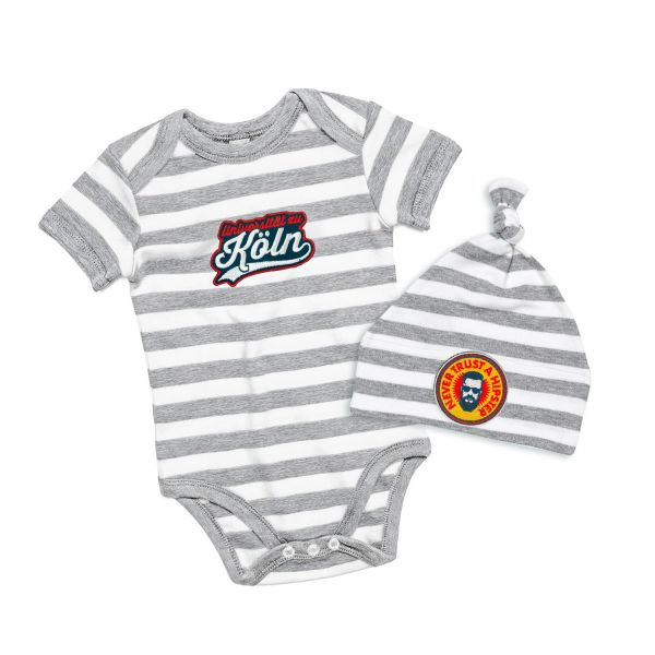 Welcome Baby Set, stripe grey, patchit