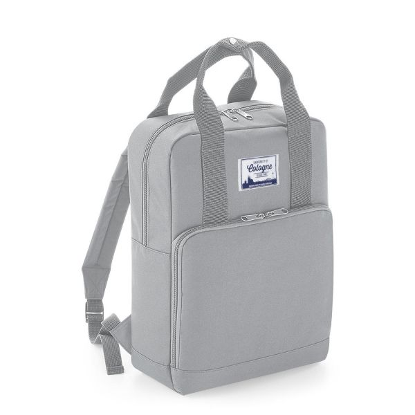 Backpack, grey, label