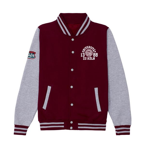 Unisex College Jacket, burgundy / heather grey, marshall